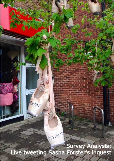 Two ballet shoes hang from the branches of a tree. They have the words pressure and perfection written on them.