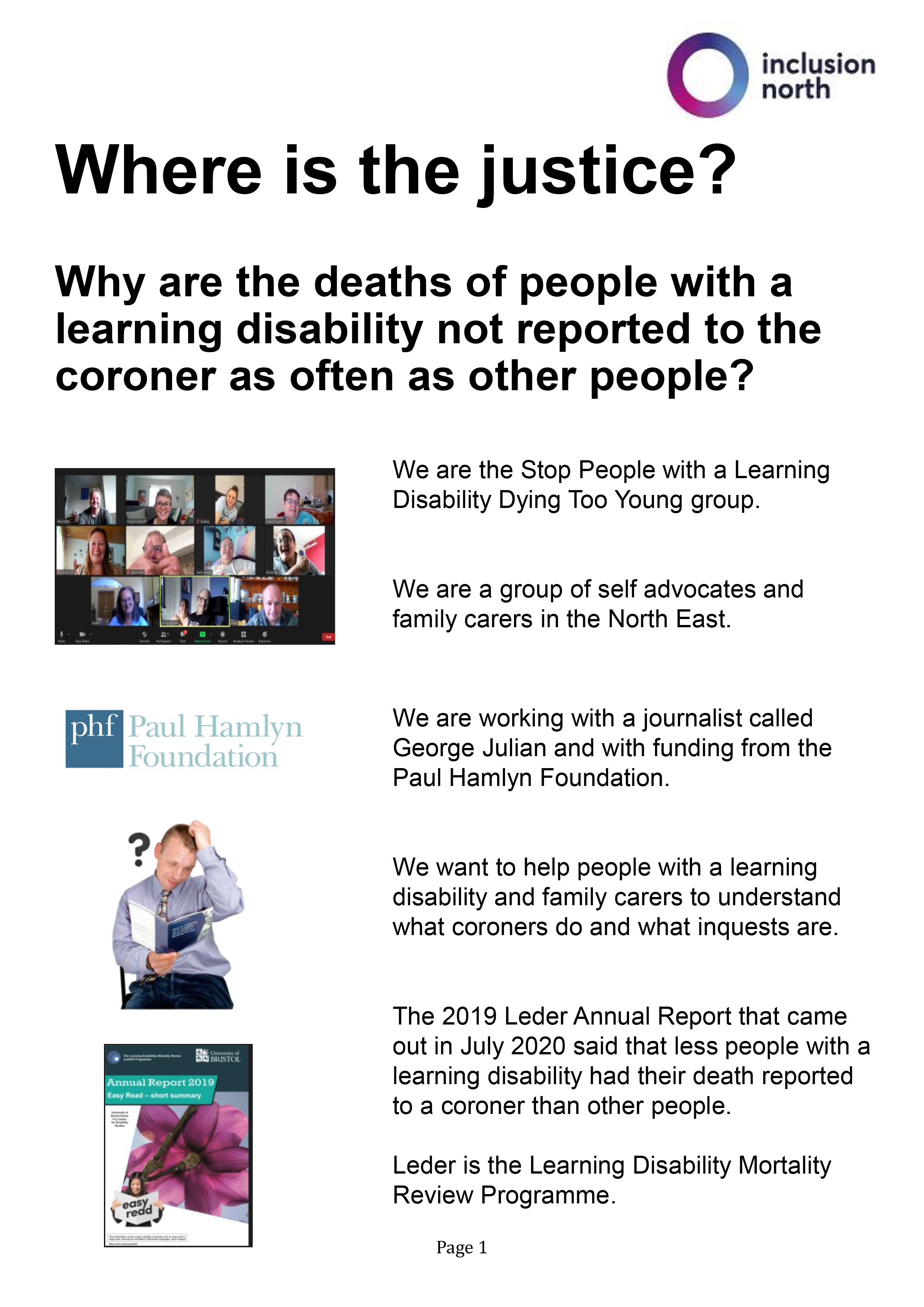 Frontpage of Easy Read Guide about why learning disabled deaths are not reported as often as they should be.